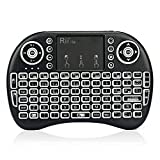 Rii mini i8s Mini teclado Inalámbrico (Layout Español) - 2.4GHz Mini Teclado retroiluminado ergonómico con doble ratón touchpad para Smart TV, Mini PC Android, Pad, Andriod / Google TV Box, Raspberry PI