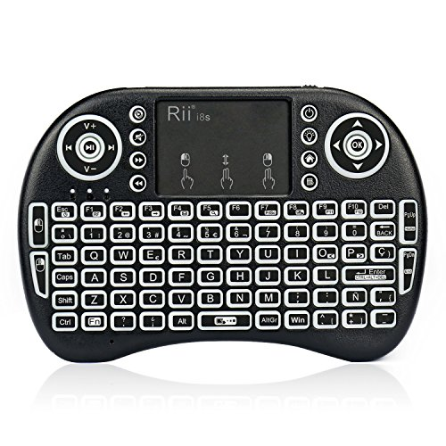 Rii mini i8s Mini teclado Inalámbrico (Layout Español) - 2.4GHz Mini Teclado retroiluminado ergonómico con doble ratón touchpad para Smart TV, Mini PC Android, Pad, Andriod / Google TV Box, Raspberry PI