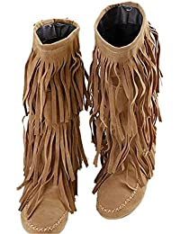 Fringe Boot Damen Fashion Stiefel Fransenstiefel Halbstiefel Fransen Schlupfstiefel Stiefeletten mit Quasten CE1BB