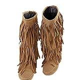 Winter Damen Bootsschuhe Fransen Stiefel Stiefeletten