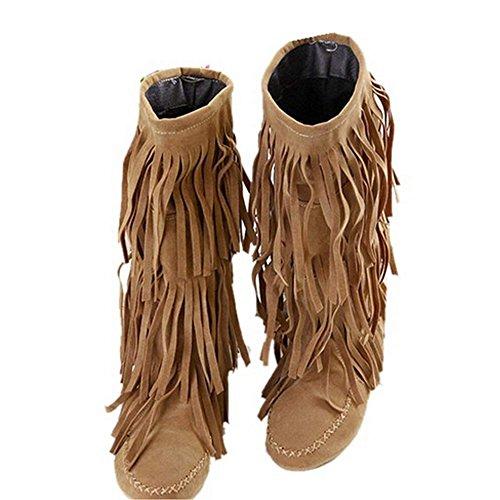 Fringe Boot Damen Fashion Stiefel Fransenstiefel Halbstiefel Stiefeletten Freizeitschuhe