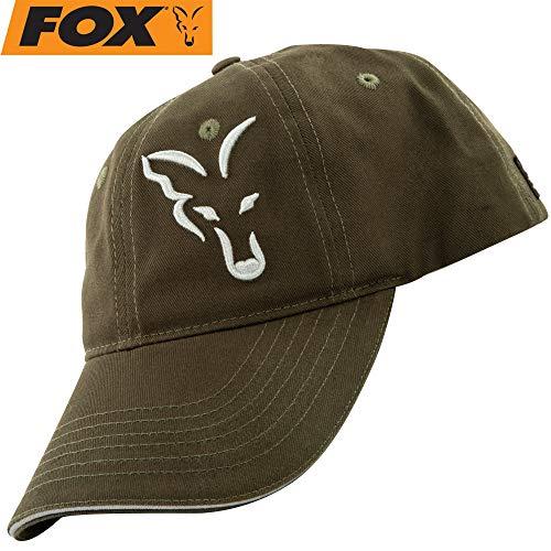 Fox Baseball Cap Green Silver - Angelcap für Angler, Cappy für Karpfenangler, Basecap, Sonnenschutz, Baseballmütze, Schirmmütze -