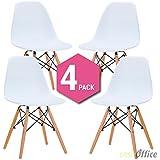 Silla Eames DSW - Tower Wood Blanca (Pack de 4)
