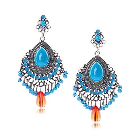 HSNZZPP Arbeiten Sie Damen Wassertropfen Quaste Earrin,Blue-OneSize