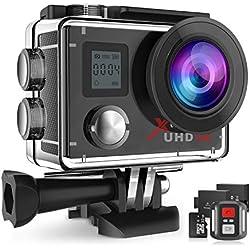 Campark ACT76 Caméra Sport 4K/30fps WiFi Appareil Photo Étanche 16MP avec Télécommande 170 °Grand-Angle 2 Batteries Rechargeables 1050mAh et Kit d'accessoires (Carte Micro SD 32Go Incluse)