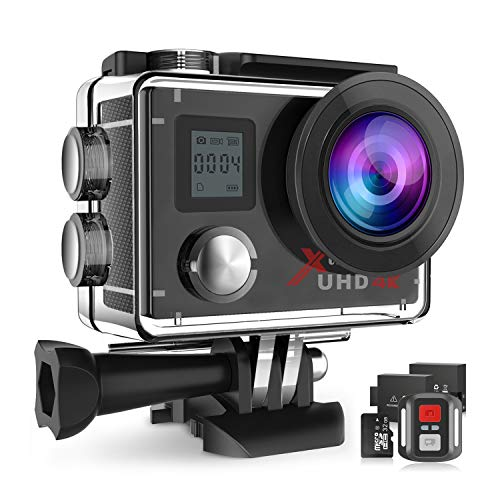 Campark 4K Action Camera Dual Screen WiFi Ultra HD 16MP Impermeabile Sport Cameras 170 ° Grandangolare con 32GB Classe 10 Scheda di Memoria Telecomando Due 1050mAh Batterie
