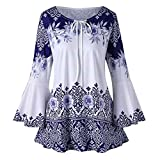 SEWORLD 2018 Damen Mode Sommer Herbst Beiläufige Schal Übergröße Gedruckt Aufflackern Ärmel Tops Blusen Schlüsselloch T-Shirts(Blau,EU-44/CN-XL)