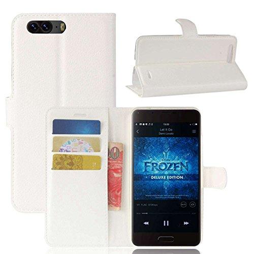 Tasche für Blackview P6 Hülle, Ycloud PU Kunstleder Ledertasche Flip Cover Wallet Case Handyhülle mit Stand Function Credit Card Slots Bookstyle Purse Design weiß