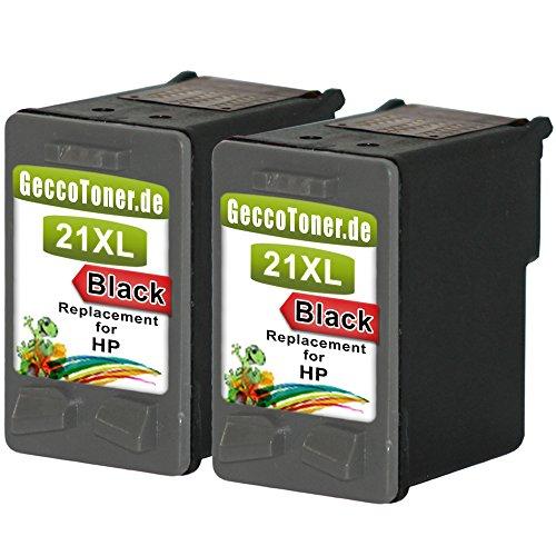 Preisvergleich Produktbild Premium 2x Kompatible Tintenpatronen als Ersatz für Hp 21 XL Black BK Schwarz Druckerpatronen für Deskjet F2188 F2185 F2180 D2430 D2338 3930 2180 F4190 F4188 F4150 F394 F388 F380 F370 F310 Patrone (Schwarz) 2x21-hp