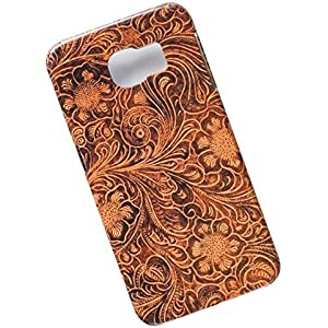 Samsung Galaxy S6 Protective Slim Case. Tasche Cover. Tooled Leather Pattern.
