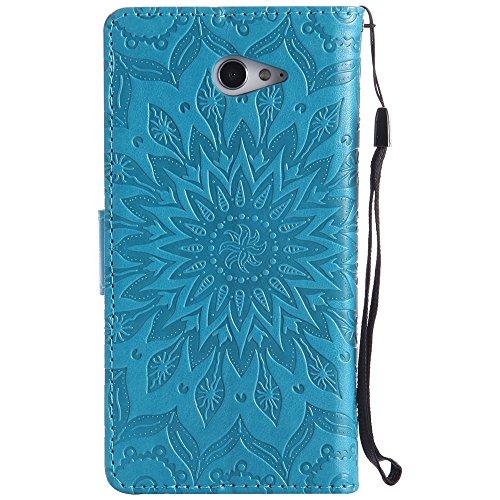 Für Sony M2 Fall, Prägen Sonnenblume Magnetic Pattern Premium Soft PU Leder Brieftasche Stand Case Cover mit Lanyard & Halter & Card Slots ( Color : Brown ) Blue