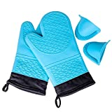 KEDSUM Hitzebeständige Silikon Ofen Handschuh mit einem Paar rutschfeste Griffmulde Einschließen Freie Geschenk Topflappen Herd Mini-Mitt Set aus 2