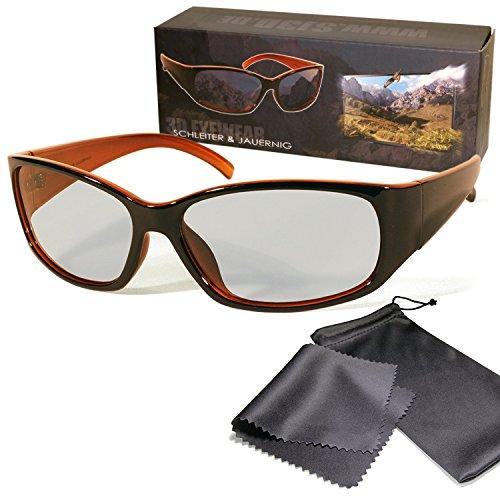SJ3D Passive 3D Brille - hochwertige 3D Brille für sie und ihn schwarz/orange - Polfilterbrille zirkular polarisiert - Für RealD 3D Kino & TV: LG Cinema 3D Philips Easy 3D Telefunken Toshiba 3D Natural Vizio 3D und 3DTVs von SONY Grundig Panasonic Hisense CMX uvm. - Inkl. Mikrofaser Brillenbeutel und Putztuch