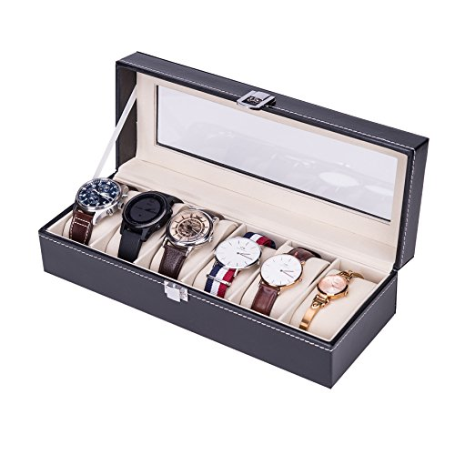 CO-Z Uhrenbox Uhrenkoffer Uhrenkasten Uhrenschatulle Watch Box Eleganter Speicher Schaukasten PU Leder Abschließbar für 6 Uhren schwarz