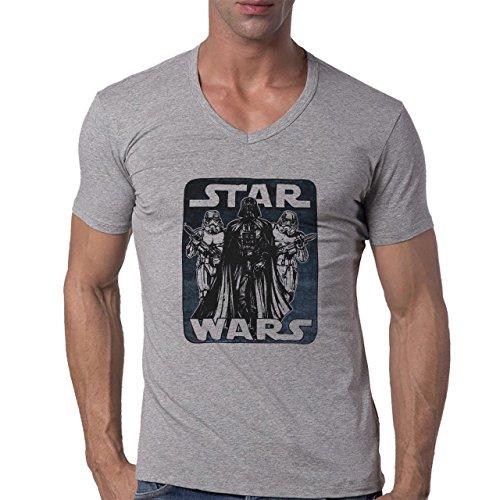 Star Wars Poster Sheet Black And White Herren V-Neck T-Shirt Grau