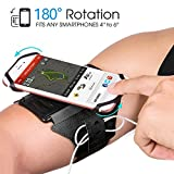 Armband Phone Holder, SAPE 180�Rotatable with Key & Earbuds Holder Phone Armband for Running Hiking Biking Walking for iPhone X/ iPhone 8 Plus/ 8/ 7 Plus/ 6 Plus/ 6, Galaxy S8/ S8 Plus/ S7 Edge Note 8 5 Pixel (Black)