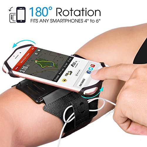 SAPE Sportarmband Schweißfest, Sport Armband mit Schlüsselhalter Kabelfach, 180°Drehbarer Handyhalter passt 4-6 Zoll Handy für iPhone X/ 8 Plus/ 8/ 7 Plus/ 6 Plus/ 6, Galaxy S8/ S8 Plus/ S7 Edge Note 8/5 Schwarz
