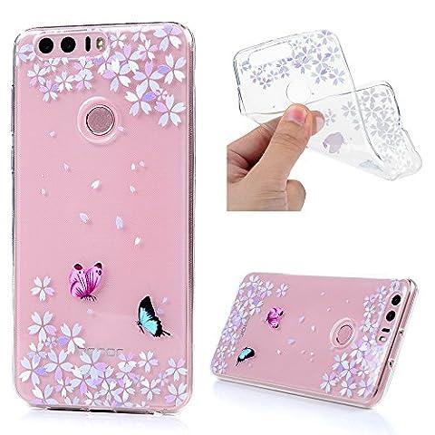 Lanveni Coque Huawei Honor 8 - Case de Protection pour TPU Souple Ultra Mince Léger Coloré - Papillon avec