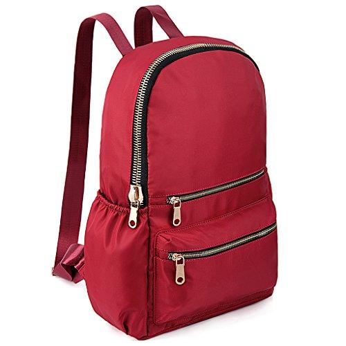 UTO Zaino per Scuola Ultraleggera Oxford impermeabile tessuto di nylon Zaino per universitaria zaino borsa da viaggio Rosso