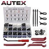 Autex set da 445 rivetti di fissaggio in plastica per auto, set di staffe e paraurti con pinze di fissaggio