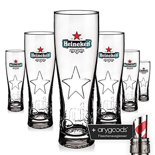 6 x Heineken Crystal Glasses Star Edition Steel 0,5L Relief Gastro Bar + anygoods Bottle pourer