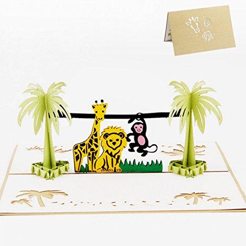 JAGETRADE 3D Pop Up Glückliche Kinder Tag Tier Zoo Grußkarte Weihnachten Einladung