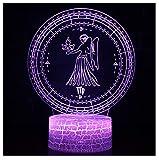 Kleine Tischlampe, Stimmungslampe, 3D-Nachtlicht -7 Color Magic Lamp-usb mit Fernbedienung-12 Constellation Sculpture - Multiple Beleuchtung - Jugend-Nachttischlampe,C