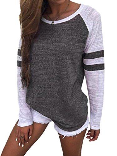 Damen Streifen Langarmshirt Tops Elegant Lose Baseball T-Shirt Sweatshirt Bluse (S,Dark Grey) Baseball-sweatshirt