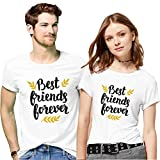 Hangout Hub Men's and Women's Couple's Cotton Best Friend Forever Printed T-Shirt Valentine