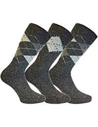 Mens 3 Pair Pack KATO Quality Warm Thermal Wool Argyle Patterned Boot Socks