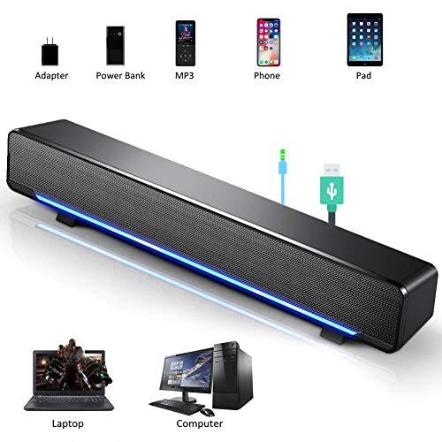 Enceinte USB, Mini Haut-Parleur PC Stéréo Léger Filaire LED Barre de Son Speaker Soundbar SoundBox, Jack Audio 3,5 mm Compatible avec PC Ordinateur Tablette TV pour Bureau Maison Home-cinéma(Noir)