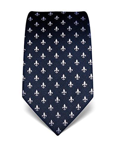 Business Krawatten (Vincenzo Boretti Herren Krawatte reine Seide Fleur-de-Lis Muster edel Männer-Design gebunden zum Hemd mit Anzug für Business Hochzeit 8 cm schmal / breit dunkelblau)
