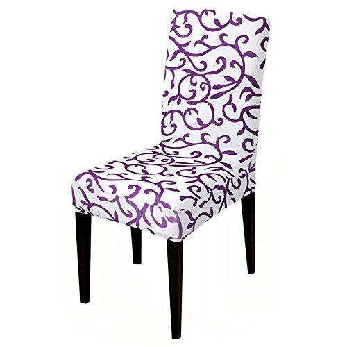 Einfarbig Stretch Stuhlabdeckung Sitzbezüge Schonbezug Hotel Bankett Esszimmer Sessel Elastic Christmas Home Purple Universal Sizes