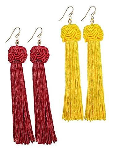 Sailimue 2 Paires Boucles d'Oreilles Longue pour Femmes Filles Frange Noeud Boucles d'Oreilles Pendante Boule jaune et rouge