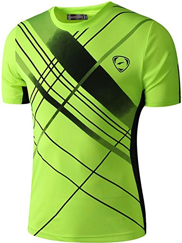 Sportides Jungen Quick Dry Active Sport Short Sleeve Breathable T-Shirt Casual Tee Top LBS701 GreenYellow L (Fitted Shirt Short Sleeve)