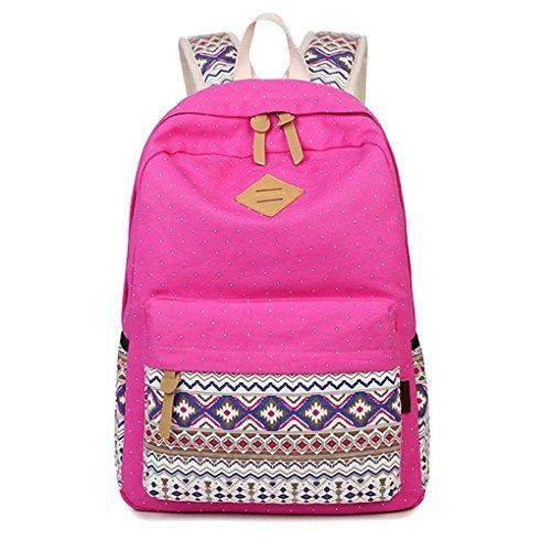 WanYang Vintage Polka Punkt Rucksack nationaler Stil Schultasche Reisetasche Canvas Daypacks für Mädchen Rose