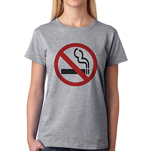 No Smoking Symbol Sign Red Black Damen T-Shirt Grau