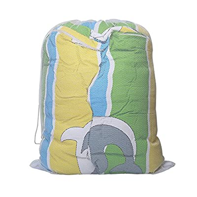 Tenn Well Large Net Washing Bag, Large Mesh Laundry Bags with Lockable Drawstring for Huge Clothes, Curtain, Duvet Cover (White)