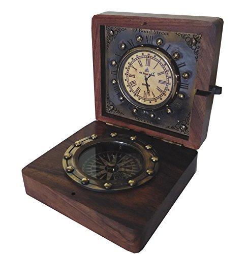 Unbekannt Nautisches Thema. Schöne Bond. London Palisander Box Uhr mit Messing Kompass, 12 cm