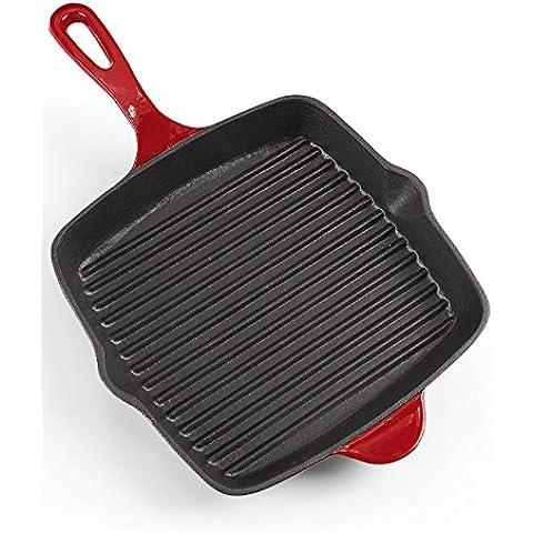Estilo Europeo Hogar Sarten Esmalte Hierro fundido Stripe 26 Cm Huevos Fritos Grill Steak Pan antiadherente Sin recubrimiento Sin humo Sin tapa Cocina de inducción Azul / Rojo ( Color : B )
