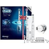 Oral-B Genius8900N CrossAction - Cepillo de dientes eléctrico recargable con tecnología de Braun, 2 mangos blancos, 5 modos, 3 cabezales de recambio y 1 estuche de viaje Premium