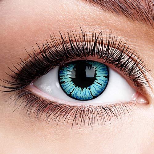 Farbige Kontaktlinsen ohne Stärke Blizzard Blau Motiv-Linsen Halloween Karneval Fasching Cosplay Anime Manga Blaue Augen Farbig Eye Blue Werewolf Devil Eis Hexe Engel