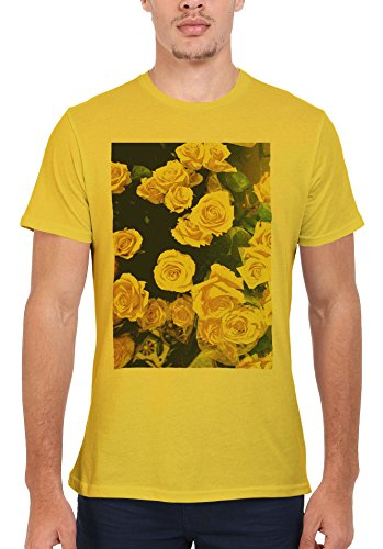 Retro Flowers Roses Pink Men Women Damen Herren Unisex Top T Shirt Licht Gelb