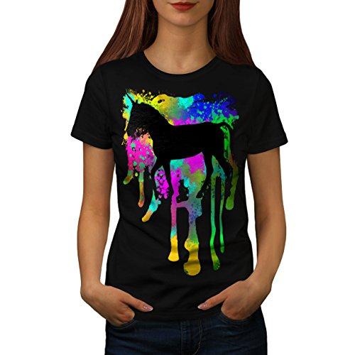 Einhorn-Fantasie-Kunst-Mythos-Tier-Damen-NEU-Schwarz-S-2XL-T-shirt-Wellcoda
