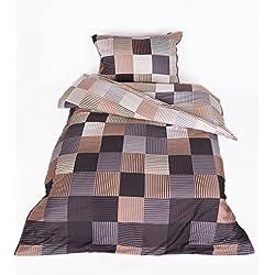MyHoppi Mako-Satin Bettwäsche | 100% Baumwolle/Baumwollsatin | 135x200 cm + Kopfkissenbezug (Kariert-Lila 70x90cm, 140 x 200 cm)