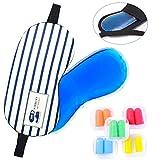 cococity Schlafmaske mit Kühlkissen Augenmaske inkl. 5 Paar Ohrstöpsel und Aufbewahrungsbox für Kopfschmerzen, geschwollene Augen, Migräne.