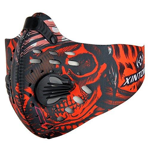 MOMEY Staubdicht Maske Aktivkohle Filtration Training Radfahren Hälfte Gesicht Maske Filter PM 2,5Anti Verschmutzung Maske für Outdoor Aktivitäten, Rot