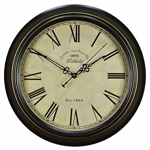 Bonne action Horloge murale Moderne Horloge Murale Suspendue Mute Quartz Ronde Horloge En Métal De Style Européen Rétro Horloge Murale Salon Quiet Horloge Murale ( Couleur : 14 inches/35.5cm )