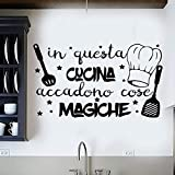 Vinilo pared decorativo, pegatina pared con frase en Italiano'IN QUESTA CUCINA'adesivi murali frasi in italiano citazione,decorazione da Muro,Wall Stickers, Art Sticker Decal Mural, DC-18031