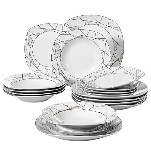 Veweet SERENA 18pcs Assiettes Pocelaine Service de Table 6pcs Assiettes  Plates 24,7cm, 6pcs cc7538a8f5e5